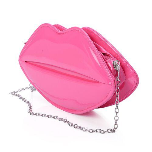 Pink Colour Pout Shape Clutch Bag with Chain Strap (Size 28x14x5 Cm)