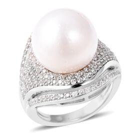 White Edison Pearl (Rnd), Natural White Cambodian Zircon Ring (Size V) in Rhodium Overlay Sterling Silver, Si