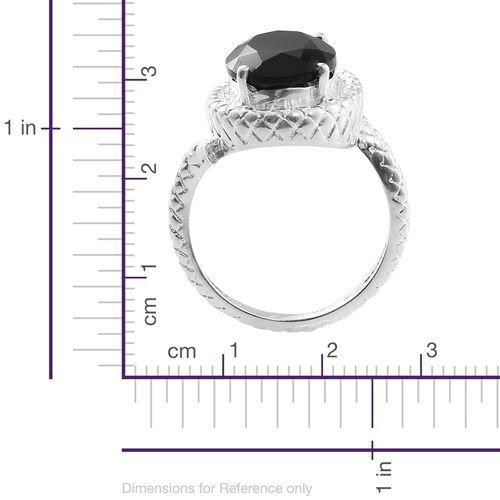 Designer Inspired-Boi Ploi Black Spinel (Ovl), Diamond Snake Ring in Sterling Silver 7.500 Ct. Silver wt 5.84 Gms.