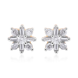 9K Yellow Gold SGL Certified Diamond (Rnd and Bgt) (I3/G-H) Stud Earrings (with Push Back) 0.25 Ct.