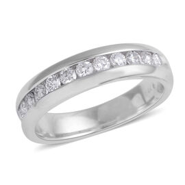 New York Close Out Deal 14K White Gold Diamond (Rnd) (I1-I2/G-H) Half Eternity Band Ring 0.500 Ct.