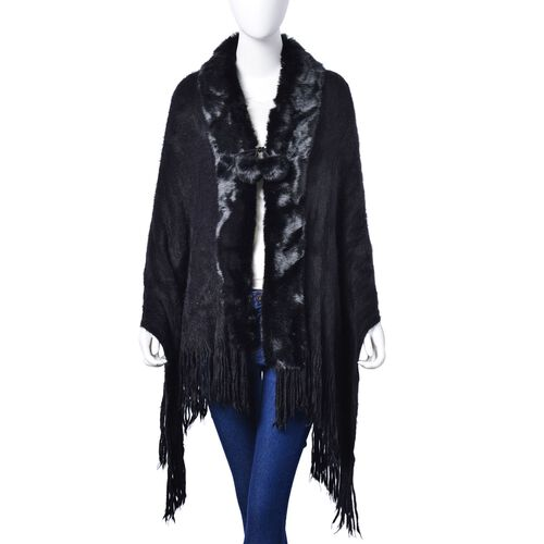 Winter Special - Black Colour Poncho with 2 Pom Pom and Faux Fur Collar (Size 160x55 Cm)