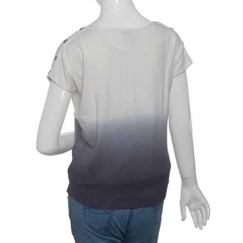 Cool Summer - White and Grey Ombre Dye T-Shirt Size - Small