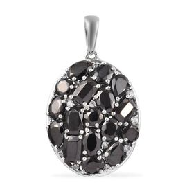 4.65 Ct Elite Shungite and Zircon Cluster Pendant in Platinum Plated Sterling Silver