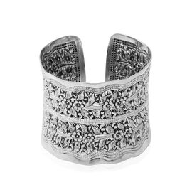 Floral Cuff Adjustable Bangle in Sterling Silver 68.57 Grams 7 Inch