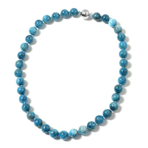 Extremely Rare Paraiba Apatite (Rnd 11-13mm) Beads Necklace (Size 20) with Magnetic Lock in Rhodium