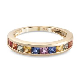 9K Yellow Gold Rainbow Sapphire Half-Eternity Band Ring 1.25 Ct.