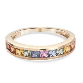 9K Yellow Gold Rainbow Sapphire Half-Eternity Band Ring 1.25 Ct.