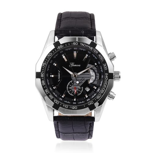 GENOA Automatic Machanical Movement Black Dial Water Resistant Watch in Silver Tone with Black Strap