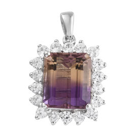 7.75 Carat Anahi Ametrine and Natural White Cambodian Zircon Pendant in Silver