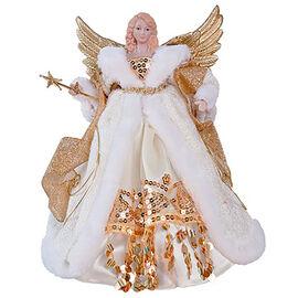 30cm Luxury Gold & Cream Dress Tree Top Angel