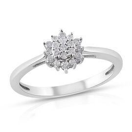 0.20 Ct Diamond Floral Ring (Size P) in 9K White Gold 2 Grams SGL CERTIFIED I3 GH