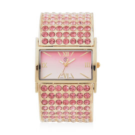 STRADA Japanese Movement Pink, Light Pink and White Crystal Bangle Watch (Size 6.5-7) in Gold Tone w