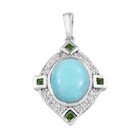 5 Carat Peruvian Amazonite and Cambodian Zircon Halo Pendant in Platinum Plated Sterling Silver