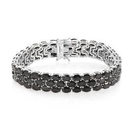 21.50 Ct Elite Shungite Tennis Bracelet in Platinum Plated Silver 23.78 Grams 7.5 Inch