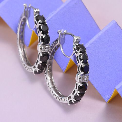 Elite Shungite (Rnd), Natural Cambodian Zircon Hoop Earrings (with Clasp) in Platinum Overlay Sterling Silver 2.39 Ct.