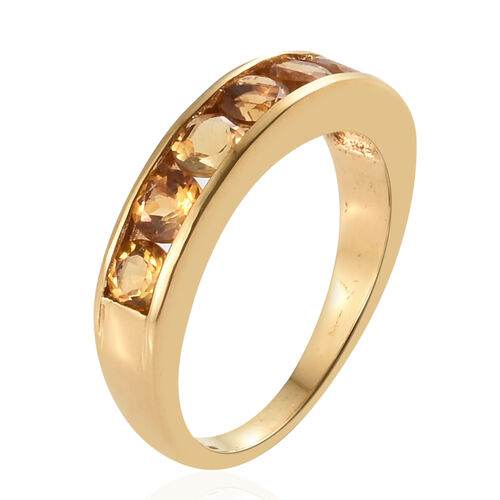 AA Citrine (Rnd) Half Eternity Ring in 14K Yellow Gold Overlay Sterling Silver 1.00 Ct.
