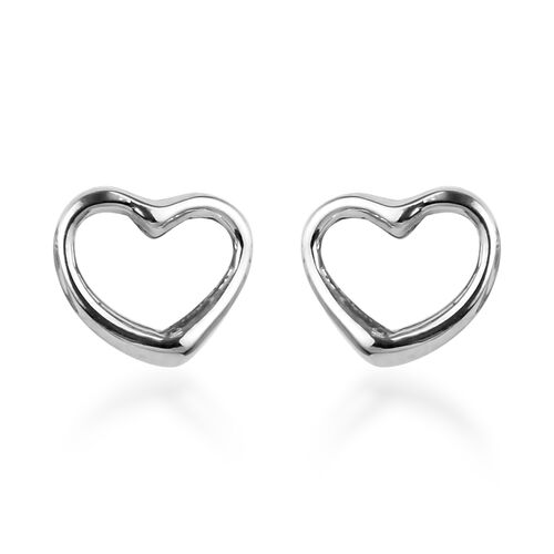 RHAPSODY 950 Platinum Open Heart Earrings (with Screw Back)