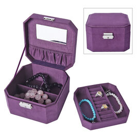 Purple  Velvet Jewellery Box with Tassel Key Lock, Removeable Tray and Inside Mirror (16.5x16.15x10c