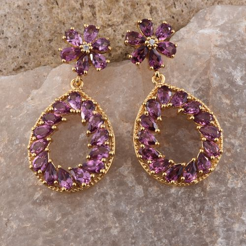 Rhodolite Garnet (Pear), Natural Cambodian Zircon Teardrop Earrings (with Push Back) in 14K Gold Overlay Sterling Silver 10.500 Ct. Silver wt. 7.28 Gms.