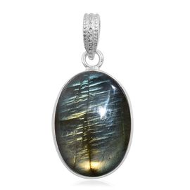 Rare Size Labradorite (Ovl) Pendant in Sterling Silver 30.340 Ct.