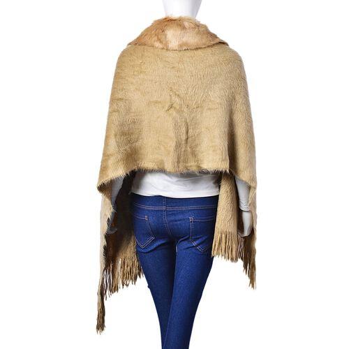 Winter Special - Khaki Colour Poncho with 2 Pom Pom and Faux Fur Collar (Size 160x55 Cm)