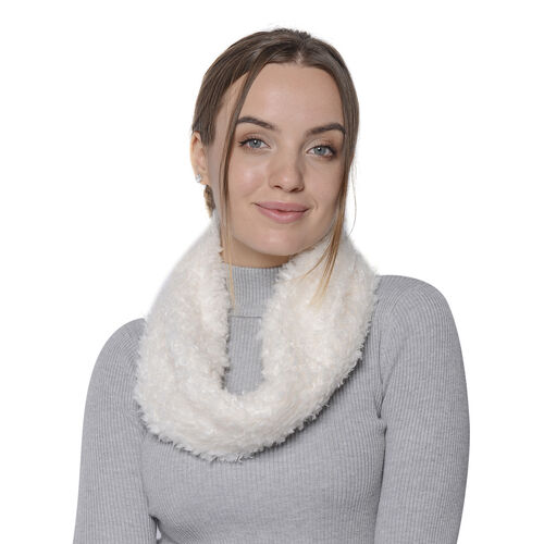 Soft and Fluffy Faux Fur Infinity Scarf - (Size:20x40cm) - Off White