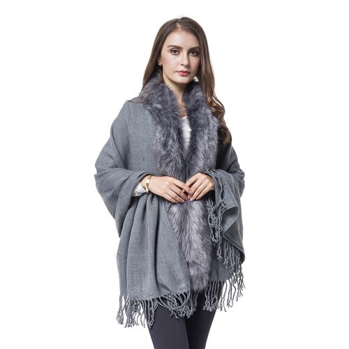 Designer Inspired Faux Fur Trimmed Cape - Silver Grey  (One Size)