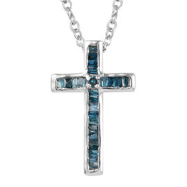 Blue Diamond (Bgt and Rnd) Cross Pendant with Chain (Size 20) in Platinum Overlay Sterling Silver 0.