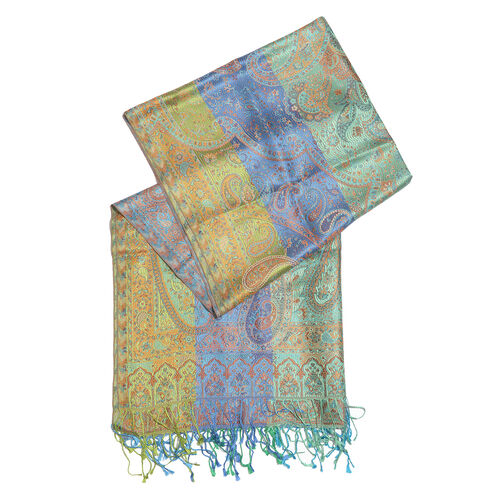 SILK MARK - 100% Superfine Silk Blue, Green and Multi Colour Paisley Pattern Reversible Jacquard Scarf with Tassels (Size 190X70 Cm)