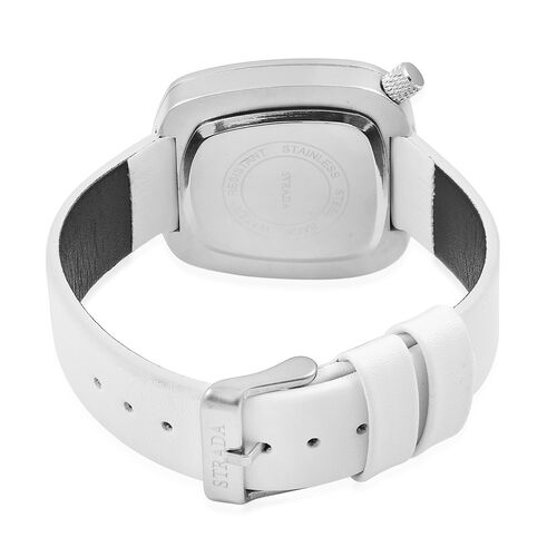 STRADA Japanese Movement Water Resistant Watch in Silver Tone with Stainless Steel Back and White Colour Strap
