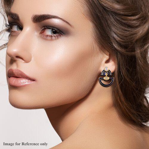 Ethiopian Welo Opal Enamelled Earrings (with Push Back) in 14K Gold Overlay Sterling Silver 1.25 Ct., Silver wt 5.00 Gms