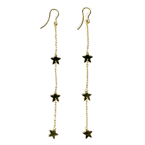 Designer Inspired- Vicenza Collection 9K Yellow Gold Star Hook Earrings