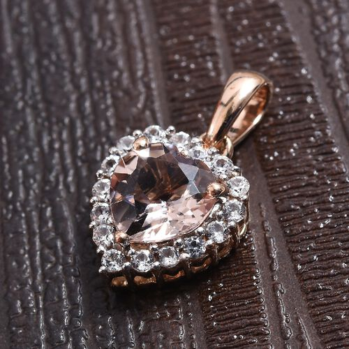 9K Rose Gold AA Marropino Morganite (Hrt 7 mm), Natural Cambodian Zircon Pendant 1.40 Ct.