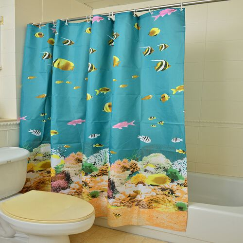 Turquoise, Green and Multi Colour Fishes Pattern Water Proof Shower Curtain (Size 180X180 Cm) with 12 Plastic Hooks