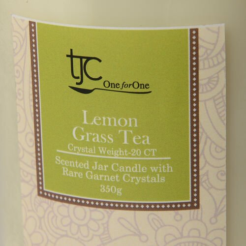 Lemon Grass Tea Scented Glass Candle with Rare Garnet (20 CTs)