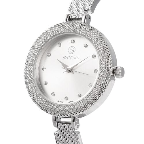 2 Piece Set- STRADA Japanese Movement Simulated White Diamond and White Austrian Crystal Studded Water Resistant Watch and Bracelet (Size 8) in Silver Tone