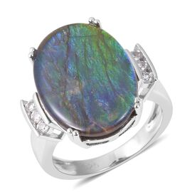 AA Canadian Ammolite and White Cambodian Zircon Ring in Rhodium Overlay Sterling Silver