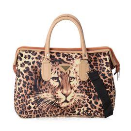 Leopard Pattern Travel Bag with Detachable Shoulder Strap and Zipper Closure (Size 40x27.5x16.5 Cm)