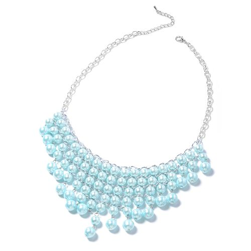 Simulated Blue Pearl (Rnd) Beads Waterfall Necklace, Hook Earrings and Bracelet in Silver Bond.