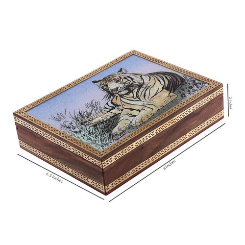 Handcrafted Wooden Gemstone Jewellery Box with Tiger Painting on Top (Size 21x16x5 Cm)