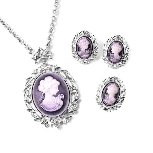 3 Piece Set - White Austrian Crystal Adjustable Ring, Vintage Style Purple Cameo Necklace (Size 20 w