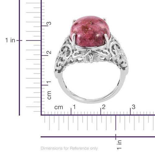 Norwegian Thulite (Ovl) Ring in Platinum Overlay Sterling Silver 13.500 Ct.