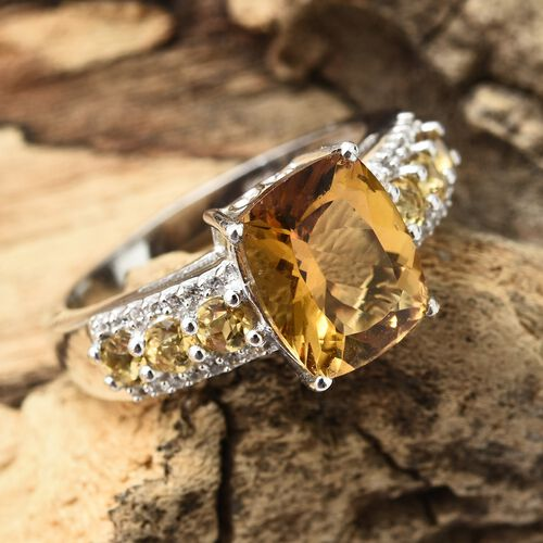 Heliodor (Cush 3.60 Ct), Natural Cambodian Zircon Ring in Platinum Overlay Sterling Silver 4.500 Ct.