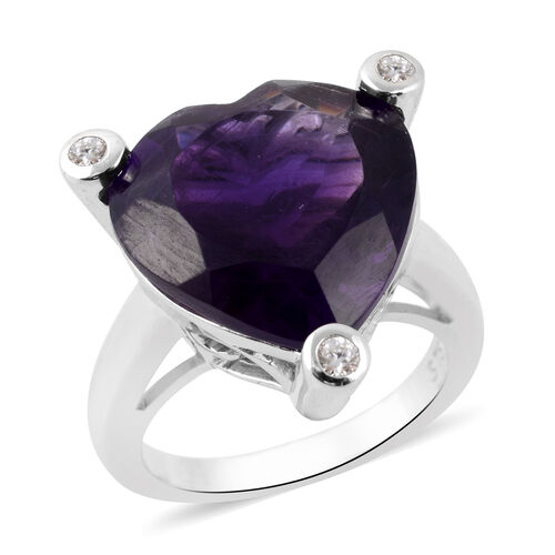 9.19 Ct Amethyst and Zircon Heart Solitaire Ring in Rhodium Plated Silver 5.75 Grams