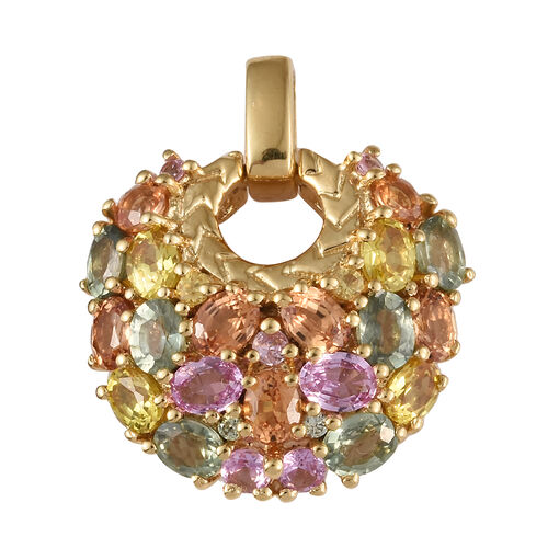 Multi Gem Stone 14K Gold Overlay Sterling Silver Pendant  4.500  Ct.