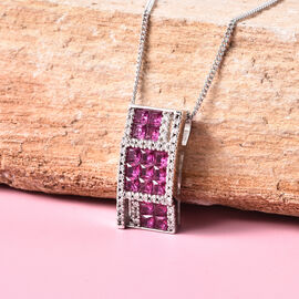 Lustro Stella - Simulated Ruby and Simulated Diamond Pendant with Chain (Size 18) in Platinum Overlay Sterling Silver
