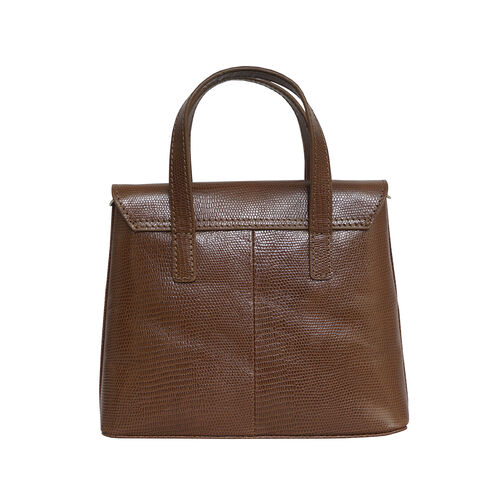 Assots London BENTLEY Lizard Designer Genuine Leather Grab Bag with Detachable and Adjustable Shoulder Strap (Size 25x5x18 Cm) - Tan