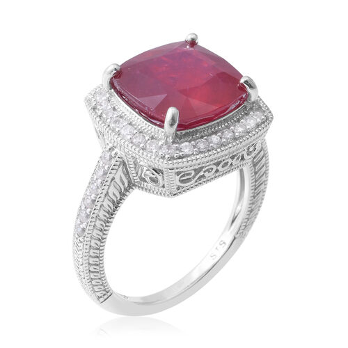 African Ruby (Cush 10.80 Ct), Natural White Cambodian Zircon Ring in Rhodium Overlay Sterling Silver 11.600 Ct, Silver wt 5.60 Gms.