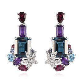 Sundays Child - London Blue Topaz, Amethyst and Multi Gemstone Earrings (with Push Back) in Platinum